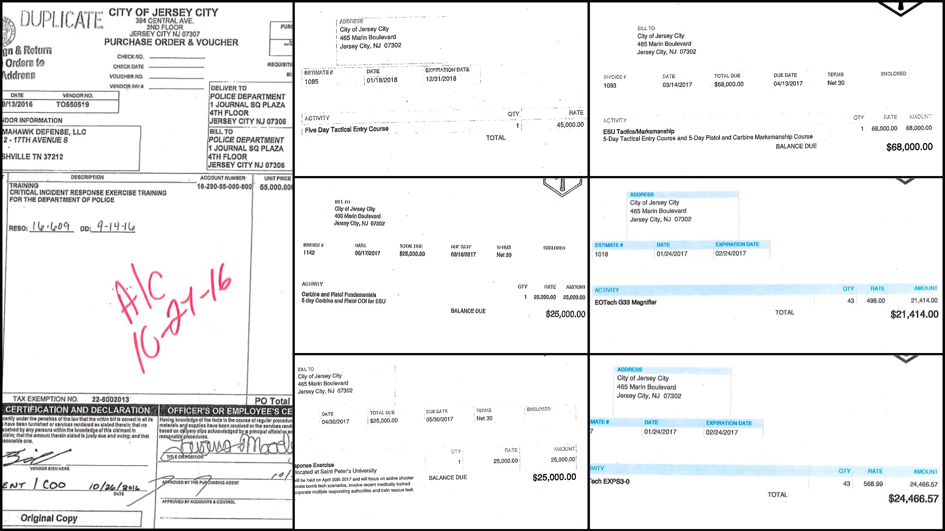 Tomahawk Strategic Solutions Jersey City Police Invoices