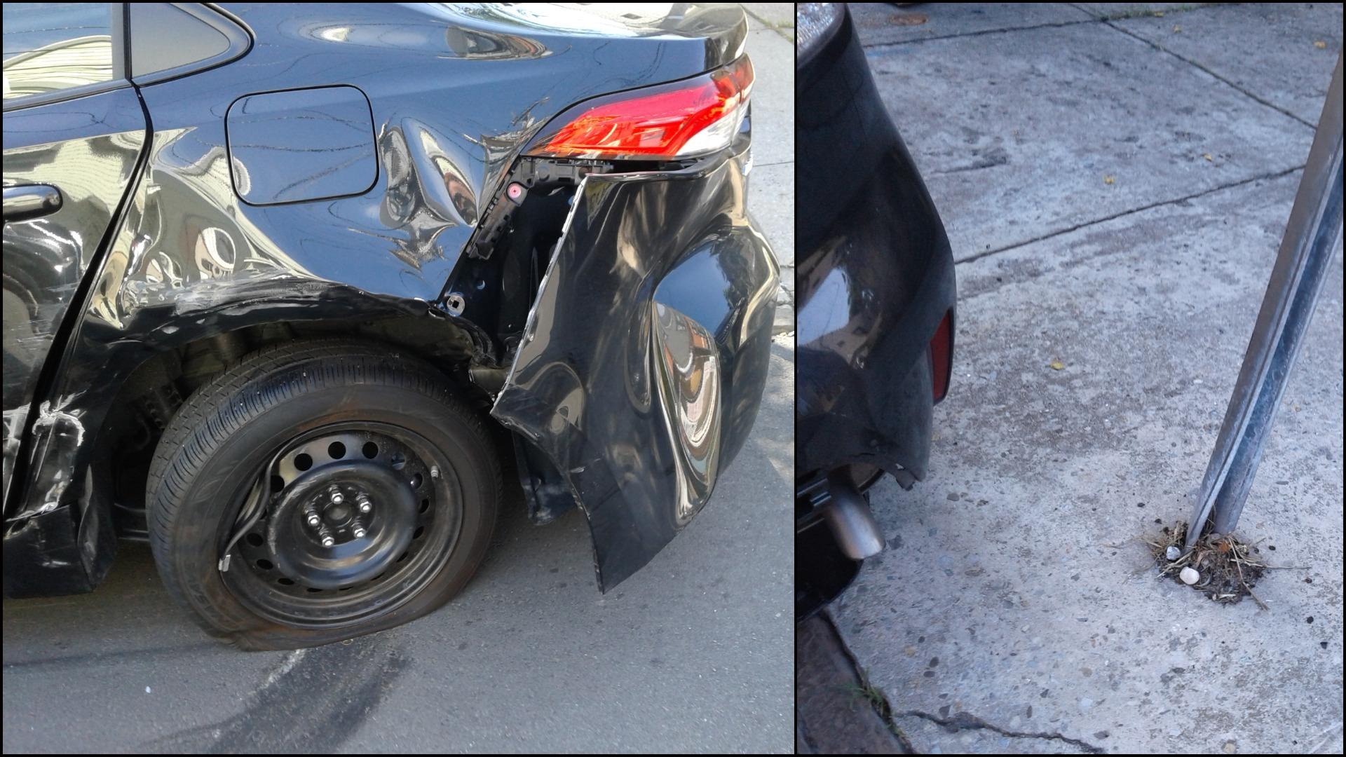 Parked car damage - Columbia Ave - Jersey City - Richie Lopez